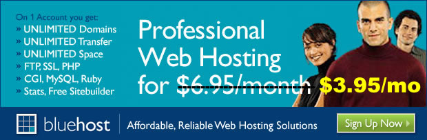 Professional web hosting by bluehost.com